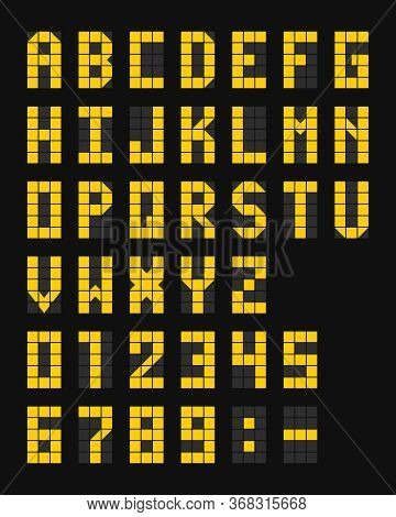 Led Scoreboard Airport Template On A Dark Background. Vector