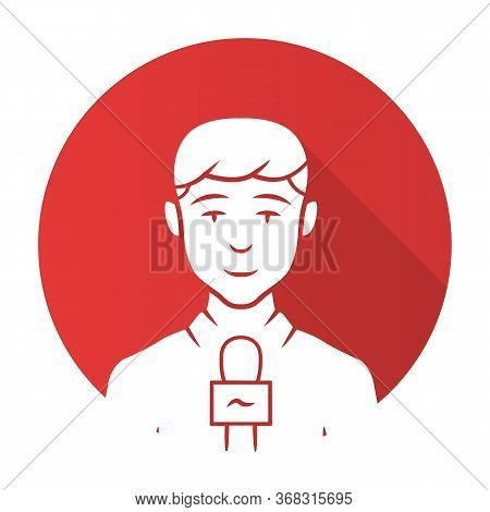 Reporter Man Red Flat Design Long Shadow Glyph Icon. Tv Presenter, Interviewer With Microphone. Tv H