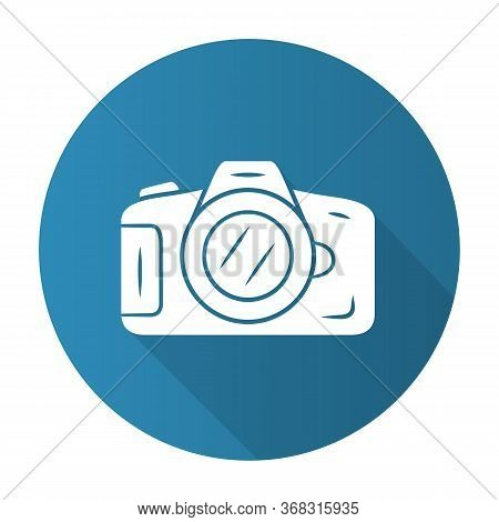 Photo Camera Blue Flat Design Long Shadow Glyph Icon. Professional Photocamera. Making Snapshots, Ta