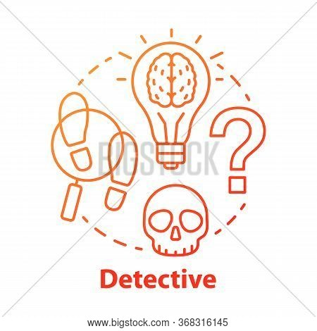 Detective Literature Red Concept Icon. Crime Fiction Idea Thin Line Illustration. Mystery Criminal S
