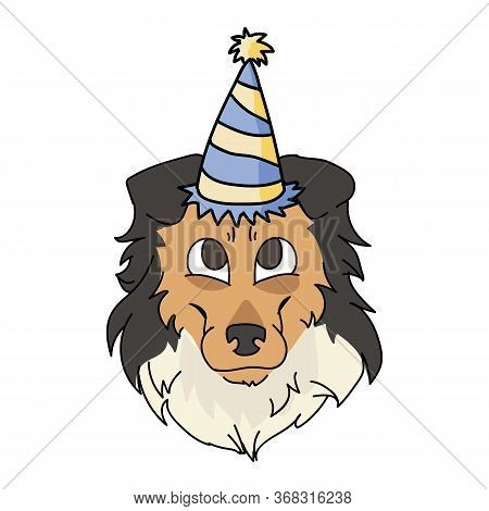 Cute Cartoon Rough Collie Dog Face With Party Hat Vector Clipart. Pedigree Kennel Sheepdog For Dog L