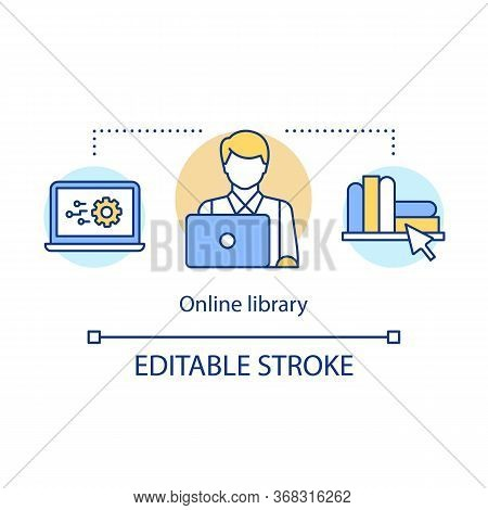 Online Library Concept Icon. Digital Bookstore, Virtual Library Idea Thin Line Illustration. Modern