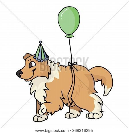 Cute Cartoon Rough Collie Puppy With Party Hat Vector Clipart. Pedigree Kennel Sheepdog For Dog Love