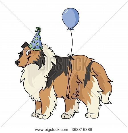 Cute Cartoon Rough Collie Dog With Party Hat Vector Clipart. Pedigree Kennel Sheepdog For Dog Lovers