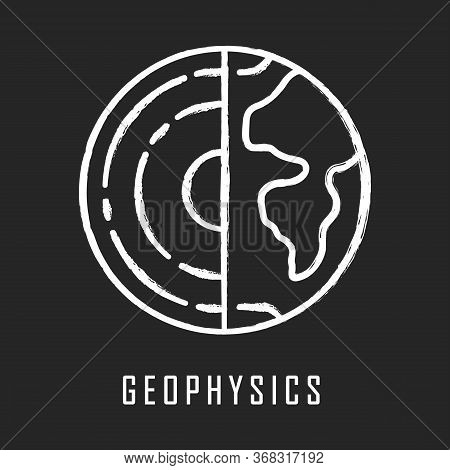 Geophysics Chalk Icon. Study Of Earth Crust And Core. Physics Branch. Inner Structure And Compositio