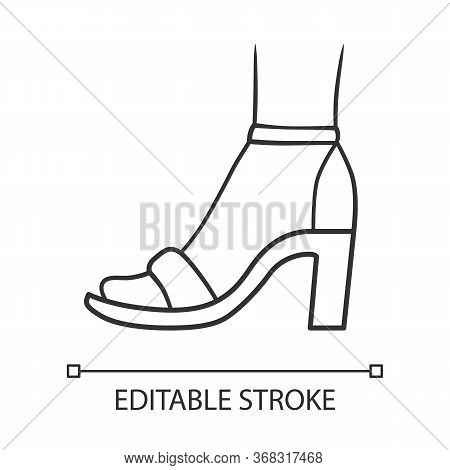 Ankle Strap High Heels Linear Icon. Woman Stylish Footwear Design. Female Shoes, Summer Sandals. Thi