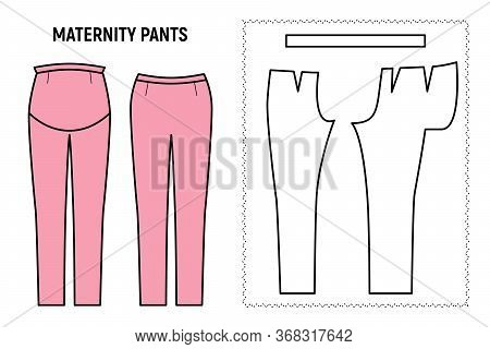 Maternity Trousers For Woman. Pants Vector Pattern For Tailor. Technical Design Illustration And Ske