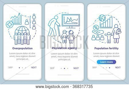 Population Onboarding Mobile App Page Screen Vector Template. Overpopulation, Population Fertility W