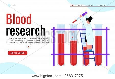 Blood Research And Hematology Analysis Site Banner, Cartoon Vector Illustration.