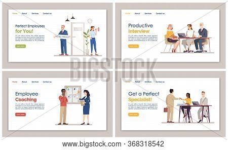 Hr Agency Landing Page Vector Template Set. Employment Service Website Interface Idea With Flat Illu