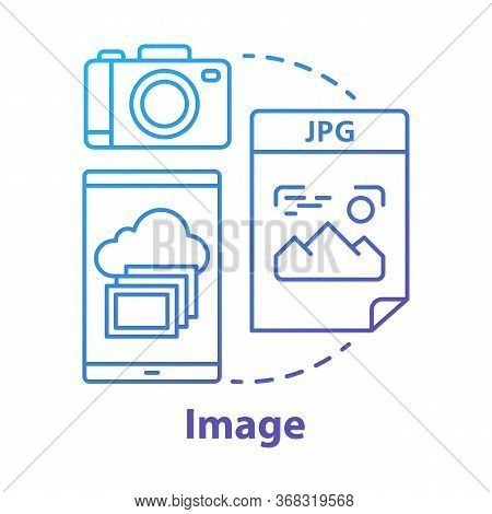 Image Blue Concept Icon. Visual Information Idea Thin Line Illustration. Pictures And Photos. Files