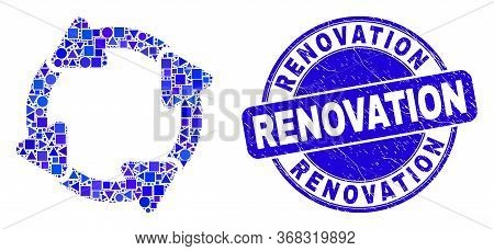 Geometric Circulation Arrows Mosaic Pictogram And Renovation Seal. Blue Vector Round Grunge Seal Sta