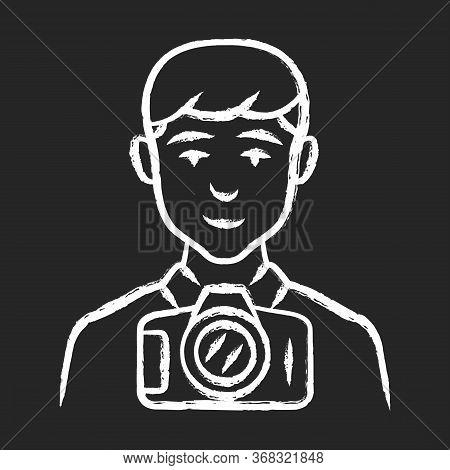 Photojournalist Chalk Icon. Photographer, Paparazzi. Making Snapshot. Professional Media Reporter, C