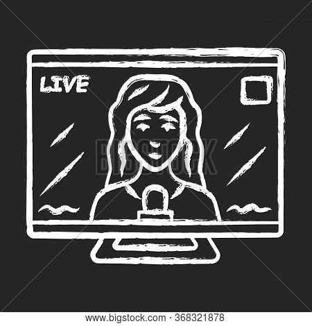 Reporter Woman On Tv Chalk Icon. Female Journalist, Interviewer Reporting Breaking News Live. Newsca
