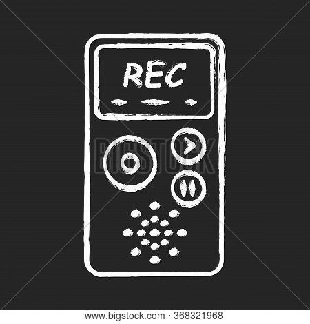Dictaphone Chalk Icon. Portable Audio Recorder. Device For Recording Interviews. Audio Record Of Voi
