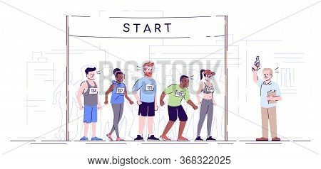 Marathon Start Flat Vector Illustration. City Footrace. Runners Ready For Endurance Contest. Joggers