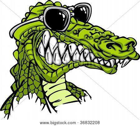 Gator Or Alligator Wearing Sunglasses Mascot Cartoon