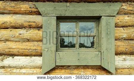 Wooden Window Of An Old Peasant Hut