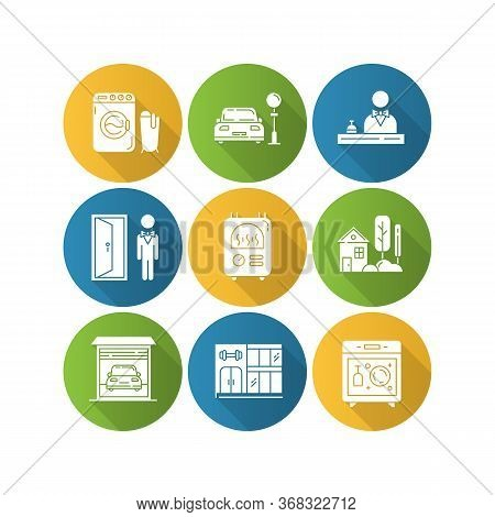 Apartment Amenities Flat Design Long Shadow Glyph Icons Set. Laundry, Dishwasher, Central Heater. Re