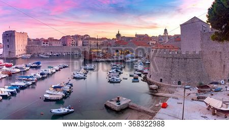 Panorama Of The Old Medieval Historical Part Of The City At Sunset. Dubrovnik. Croatia.