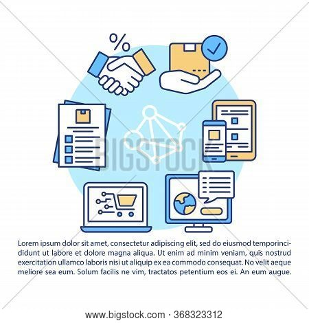 Dropshipping Article Page Vector Template. Build Relationships With Suppliers. Order Preparing. Broc