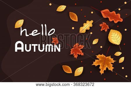 Autumn composition. Concept Hello fall. Creative Top view Flat lay. Autumn composition. Concept Hello fall. Creative Top view Flat lay. Autumn Background with falling leaves, Web Autumn Banner, shopping sale or seasonal poster, Autumn Postcard and Invitat