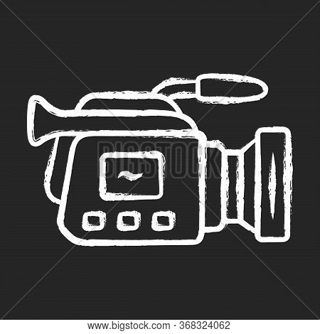 Camera Chalk Icon. Camcorder. Videotaping, Video Recording. Filmmaking Professional Equipment. Video