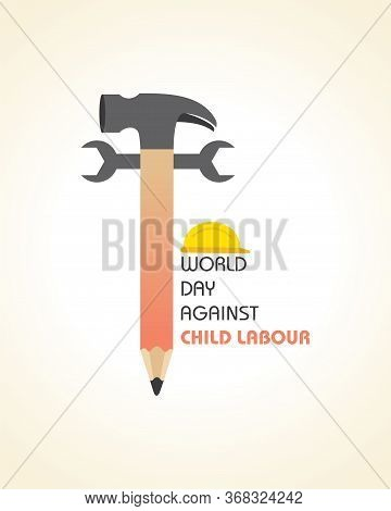 Vector Illustration Of World Day Against Child Labour Which Is Held On 12 June