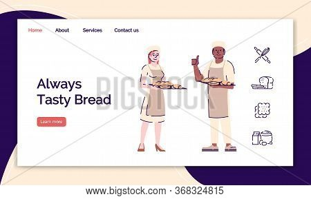 Bakery Landing Page Vector Template. Bakeshop, Bakehouse Website Interface Idea With Flat Illustrati