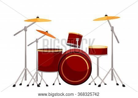 Drum Kit Flat Vector Illustration. Drums And Cymbals Construction On White Background. Collection Of