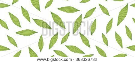 Green Leaves Seamless Background On White Background. Vector Illustration.