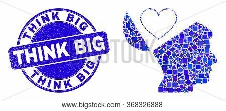 Geometric Favourites Open Mind Mosaic Pictogram And Think Big Stamp. Blue Vector Round Grunge Stamp