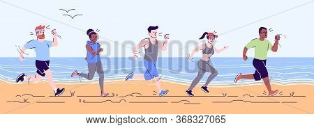 Runners Train Flat Vector Illustration. Preparation For Footrace On Beach. Sprinters On Workout. Spo
