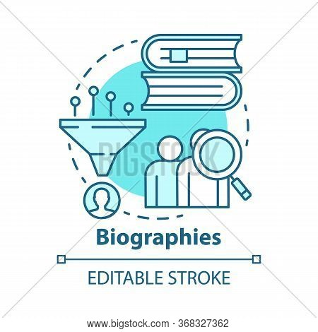 Biographies Concept Icon. Life History Idea Thin Line Illustration. Stories About Famous People. Fac