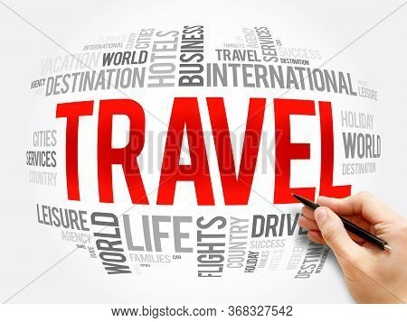 Travel Word Cloud Collage, Travel Concept Background