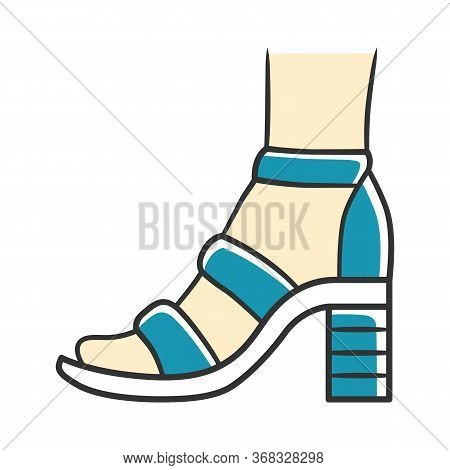 Block High Heels Blue Color Icon. Woman Stylish Footwear Design. Female Casual Shoes, Summer Sandals