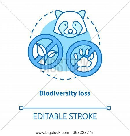 Biodiversity Loss Concept Icon. Disappearance Of Plants And Animals From Planet Idea Thin Line Illus
