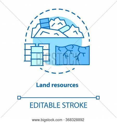 Land Resources Concept Icon. Natural Minerals Usage Idea Thin Line Illustration. Soil Pollution And