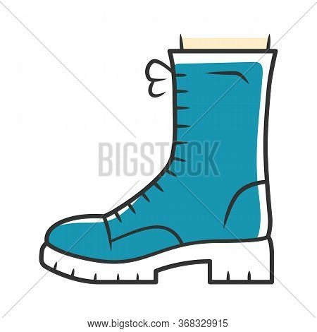 Military Boots Blue Color Icon. Women Army Rough Shoes Side View. Female Chunky Footwear Design For