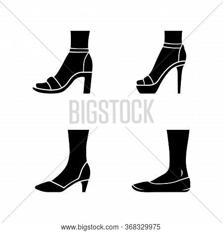 Women Formal Shoes Glyph Icons Set. Female Elegant High Heels Footwear. Classic Pumps, Ballerinas, A