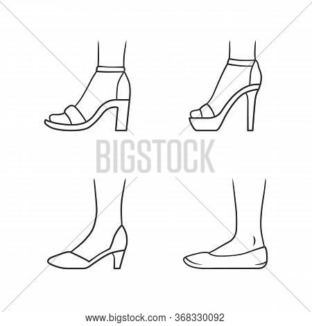 Women Formal Shoes Linear Icons Set. Female Elegant High Heels Footwear. Classic Pumps, Ballerinas,