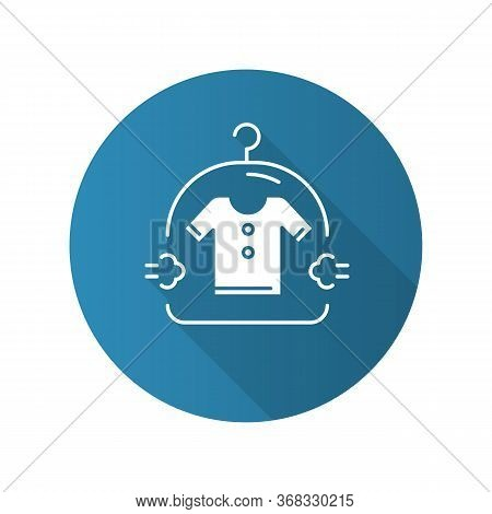 Dry Cleaning Service Blue Flat Design Long Shadow Glyph Icon. Drycleaning, Laundry Industry. Dirty C