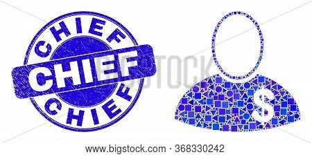 Geometric Banker Mosaic Icon And Chief Seal Stamp. Blue Vector Rounded Grunge Seal Stamp With Chief