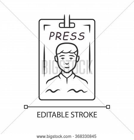 Press Pass Linear Icon. Journalist, Reporter Id Badge. Press Identification Card. Backstage Vip Entr
