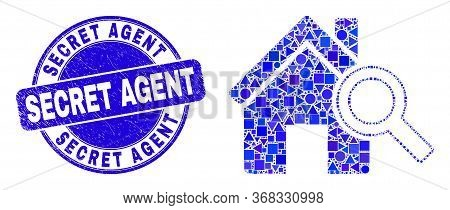 Geometric Explore Realty Mosaic Icon And Secret Agent Seal. Blue Vector Round Scratched Watermark Wi
