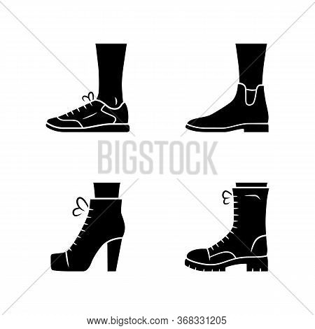 Women Autumn Shoes Glyph Icons Set. Female Formal And Casual Footwear. Stylish Unisex Trainers, Lita