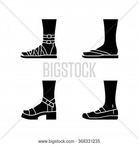 Women Summer Shoes Glyph Icons Set. Female Elegant Formal And Casual Footwear. Stylish Gladiator San