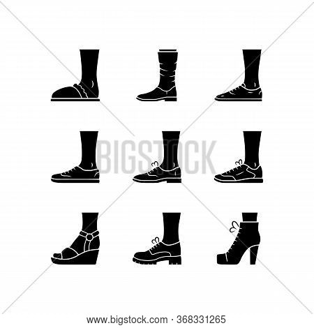 Women And Men Shoes Glyph Icons Set. Female Summer And Autumn Elegant Footwear. Wedges, Loafers And
