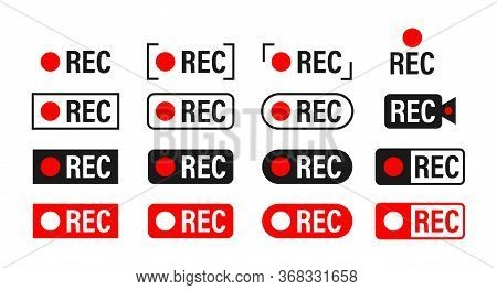 Rec. Set Recording Sign. Currently Recording. Vector Stock Illustration.
