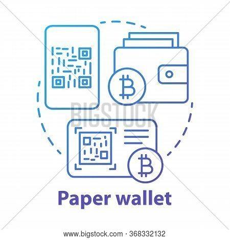 Paper Wallet Blue Concept Icon. Bitcoin Offline Storage Idea Thin Line Illustration. Copying Qr Code